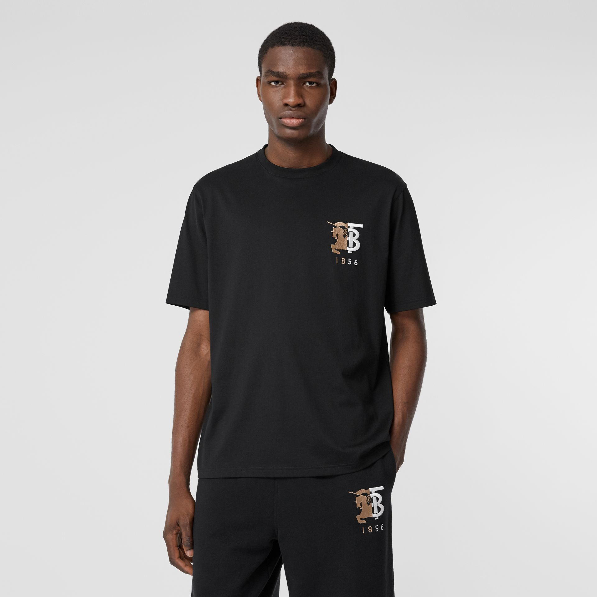 Contrast Logo Graphic Cotton T-shirt in Black - Men | Burberry - gallery image 4