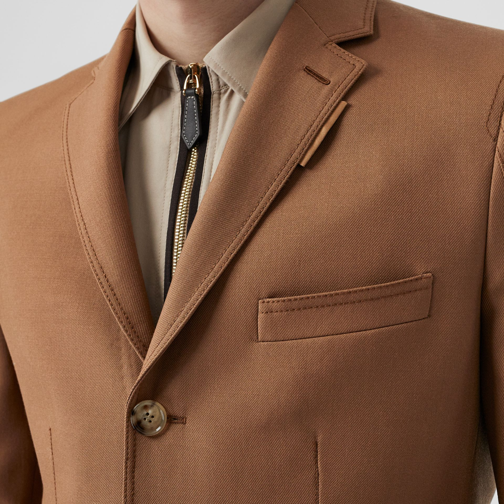 English Fit Zip Detail Wool Tailored Jacket in Dark Walnut - Men | Burberry United Kingdom - gallery image 6