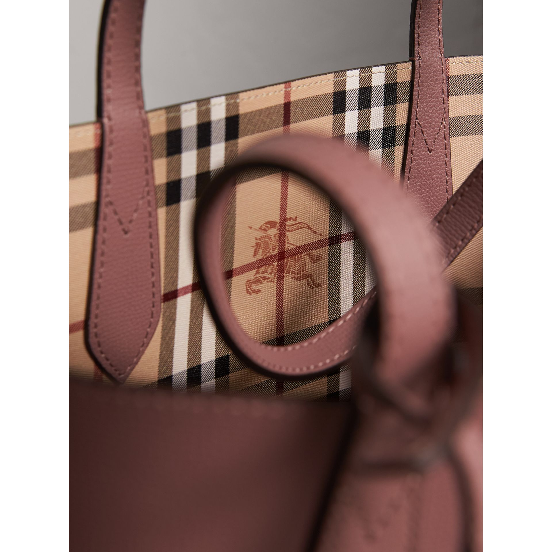 The Small Reversible Tote in Haymarket Check and Leather in Light Elderberry - Women | Burberry United States - gallery image 2