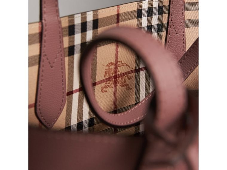 The Small Reversible Tote in Haymarket Check and Leather in Light Elderberry - Women | Burberry United Kingdom - cell image 1