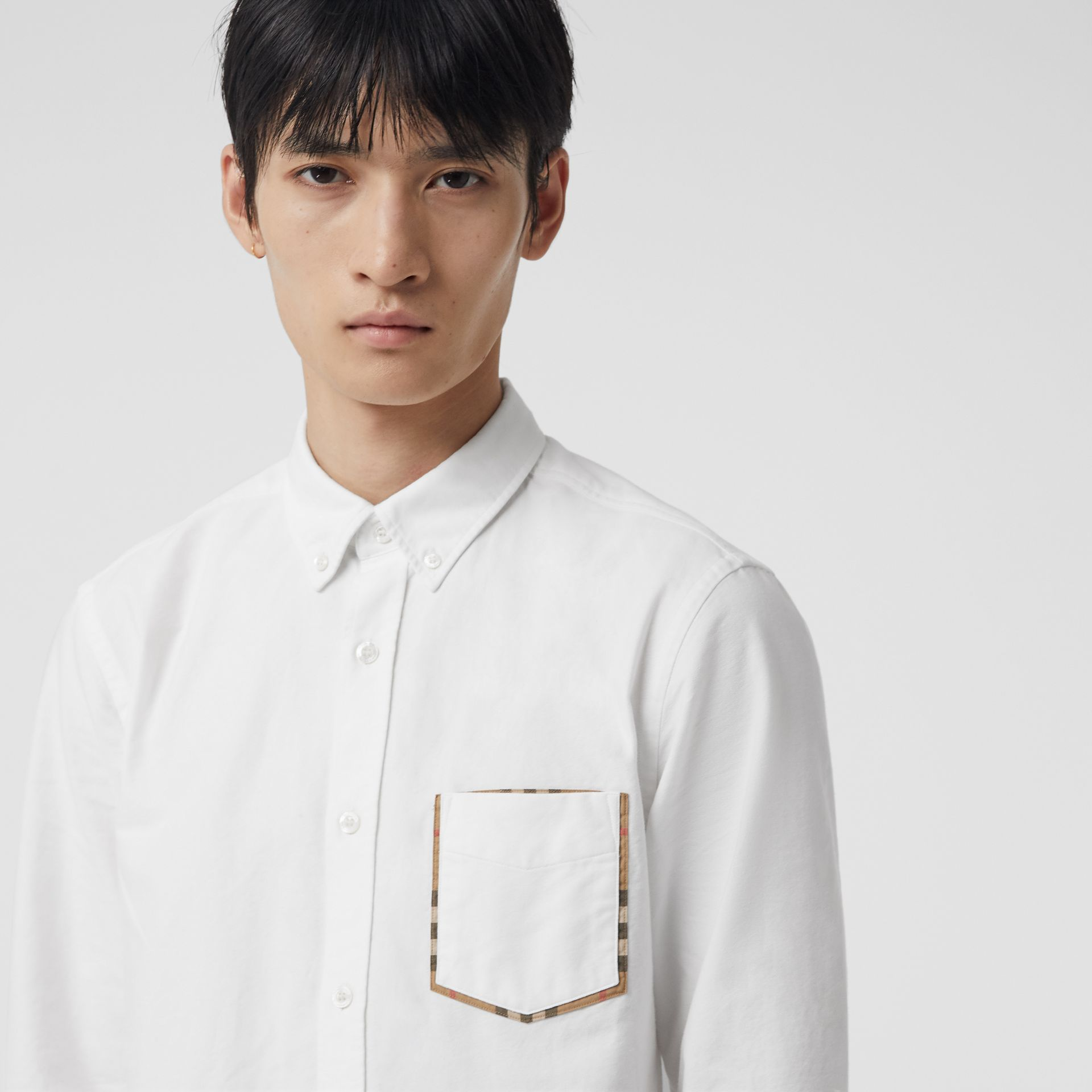 Check Detail Cotton Oxford Shirt in White - Men | Burberry Singapore - gallery image 1