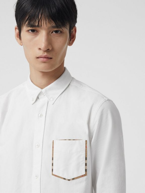 Check Detail Cotton Oxford Shirt in White - Men | Burberry - cell image 1