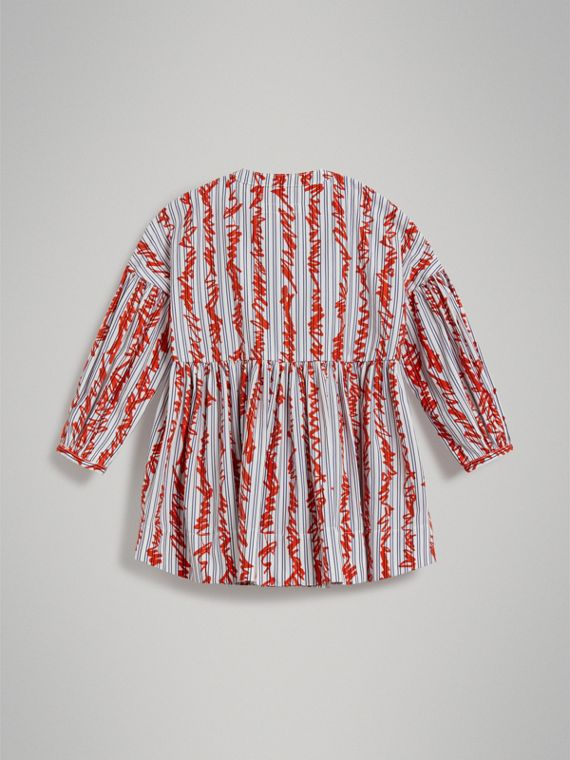 Scribble Stripe Cotton Dress in Bright Red - Girl | Burberry - cell image 3