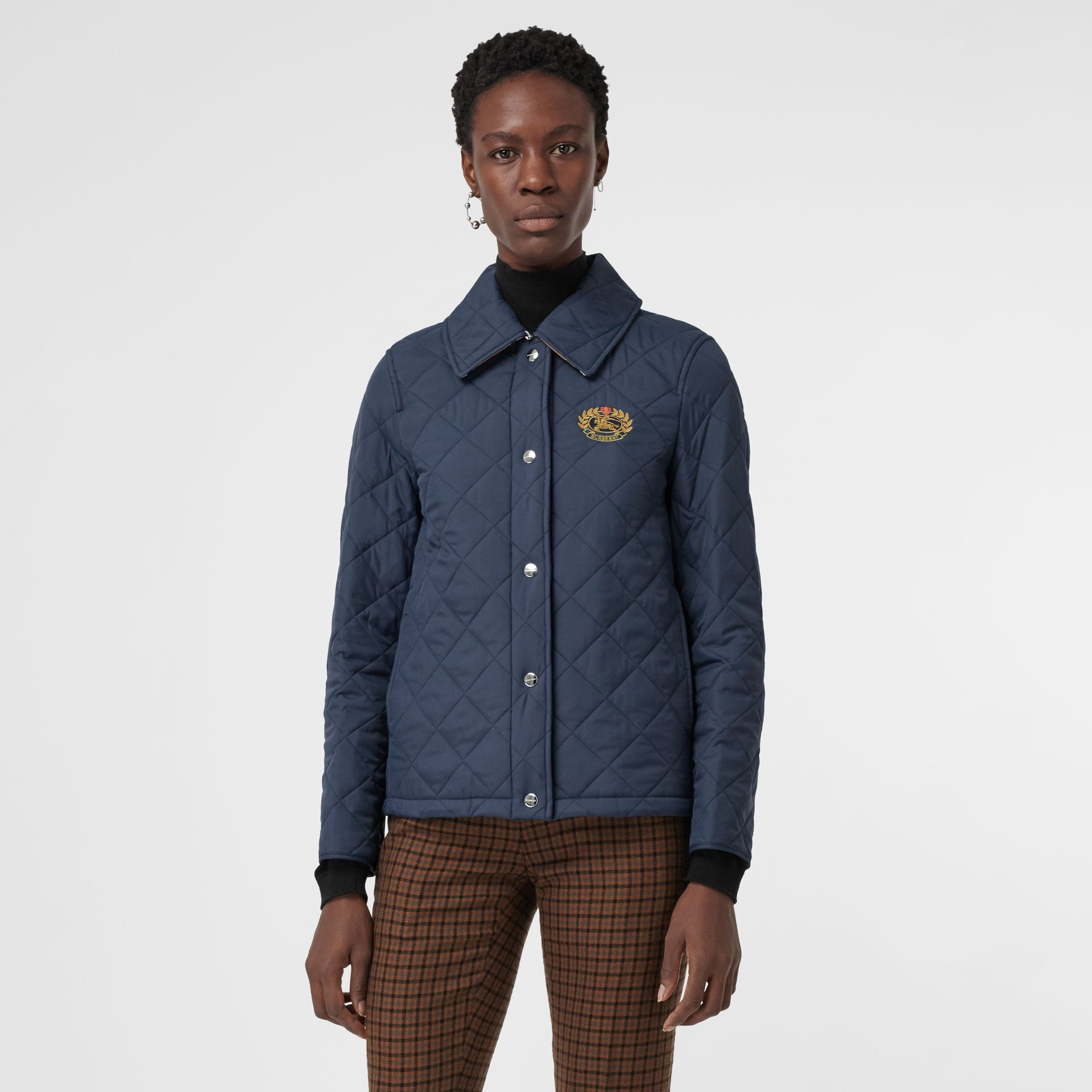 Embroidered Crest Diamond Quilted Jacket in Navy - Women | Burberry Australia - gallery image 5