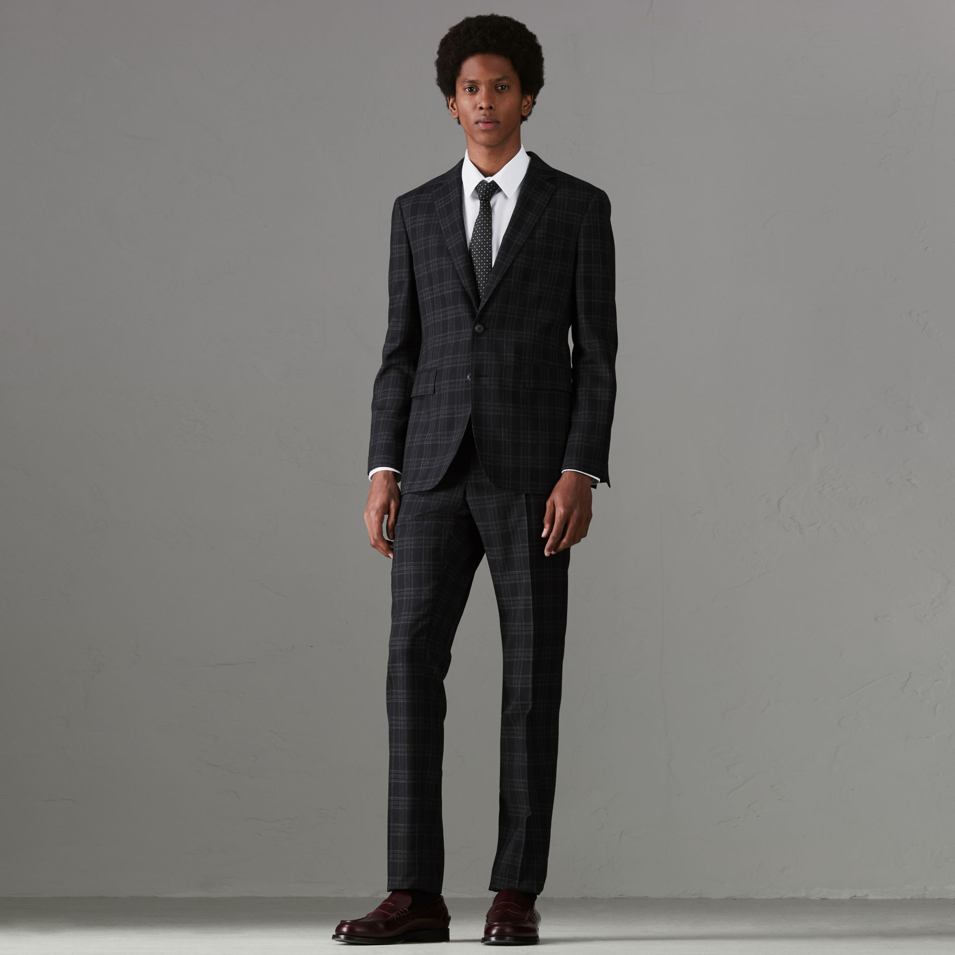 Soho Fit Check Wool Suit in Black - Men | Burberry - gallery image 0