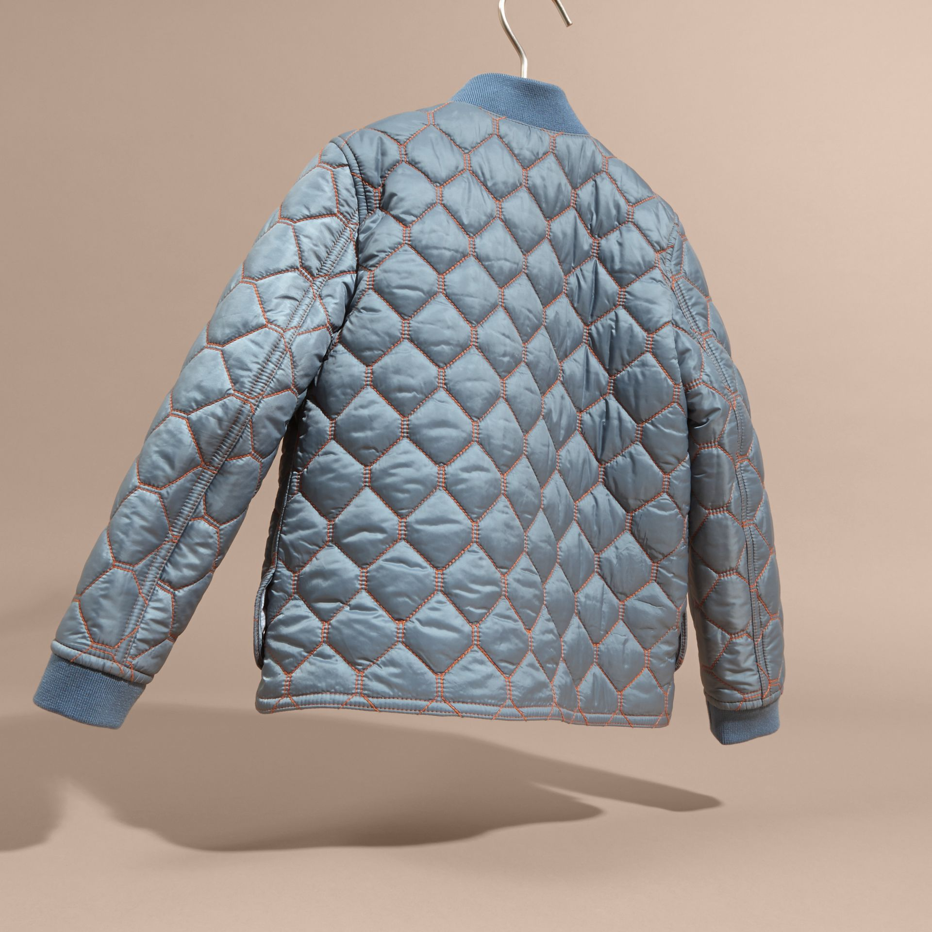 Contrast Topstitch Detail Quilted Jacket in Slate Blue | Burberry - gallery image 4