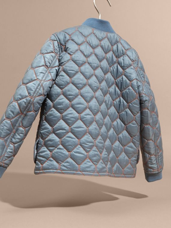 Contrast Topstitch Detail Quilted Jacket in Slate Blue | Burberry - cell image 3