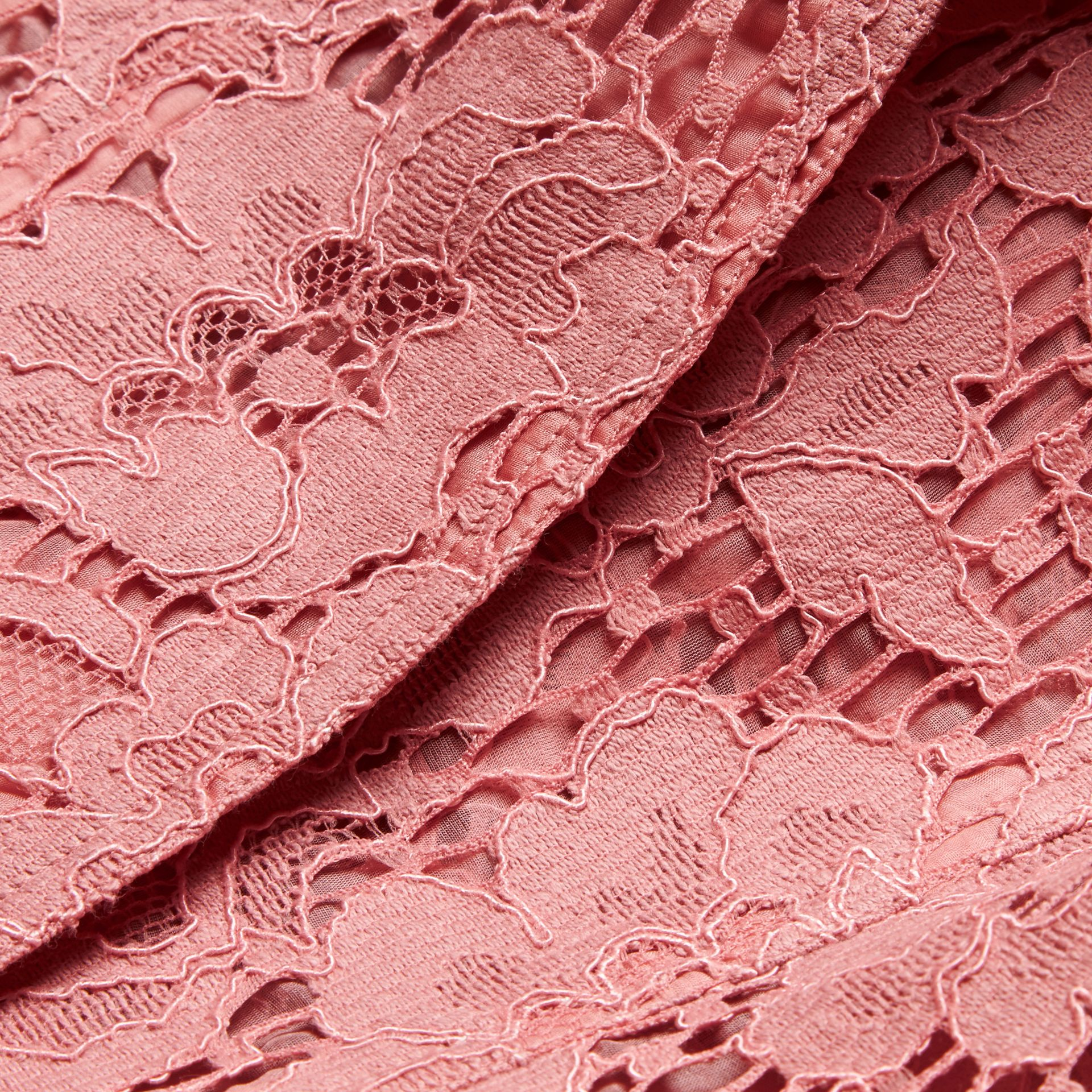 Antique rose Ruffle Detail Macramé Lace Trench Coat Antique Rose - gallery image 2