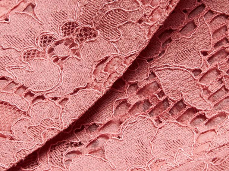 Antique rose Ruffle Detail Macramé Lace Trench Coat Antique Rose - cell image 1