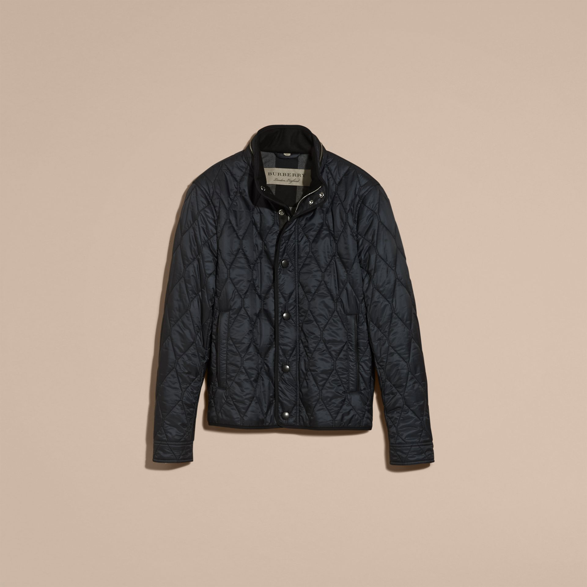 Navy Stand Collar Military Quilted Jacket - gallery image 4