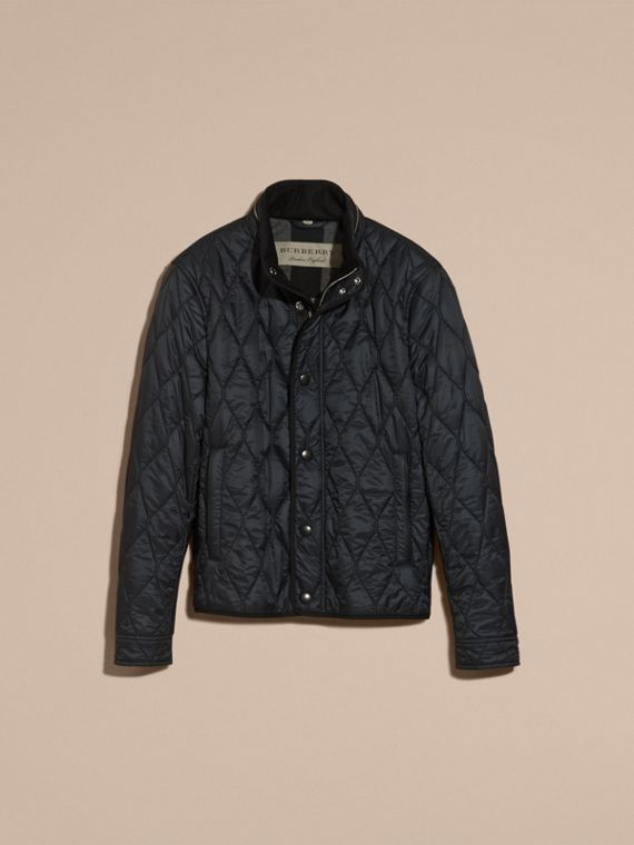 Navy Stand Collar Military Quilted Jacket - cell image 3