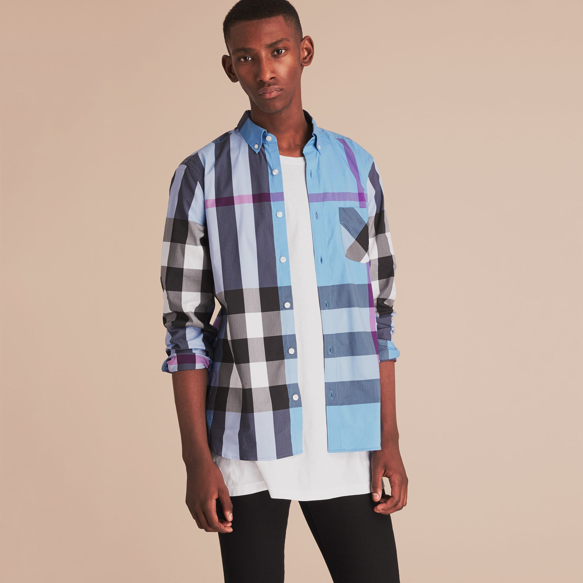 Button-down Collar Check Stretch Cotton Blend Shirt in Cyan Blue - Men | Burberry - gallery image 6