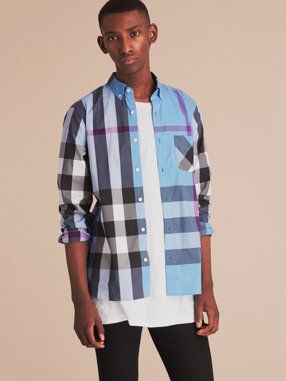 Button-down Collar Check Stretch Cotton Blend Shirt Cyan Blue