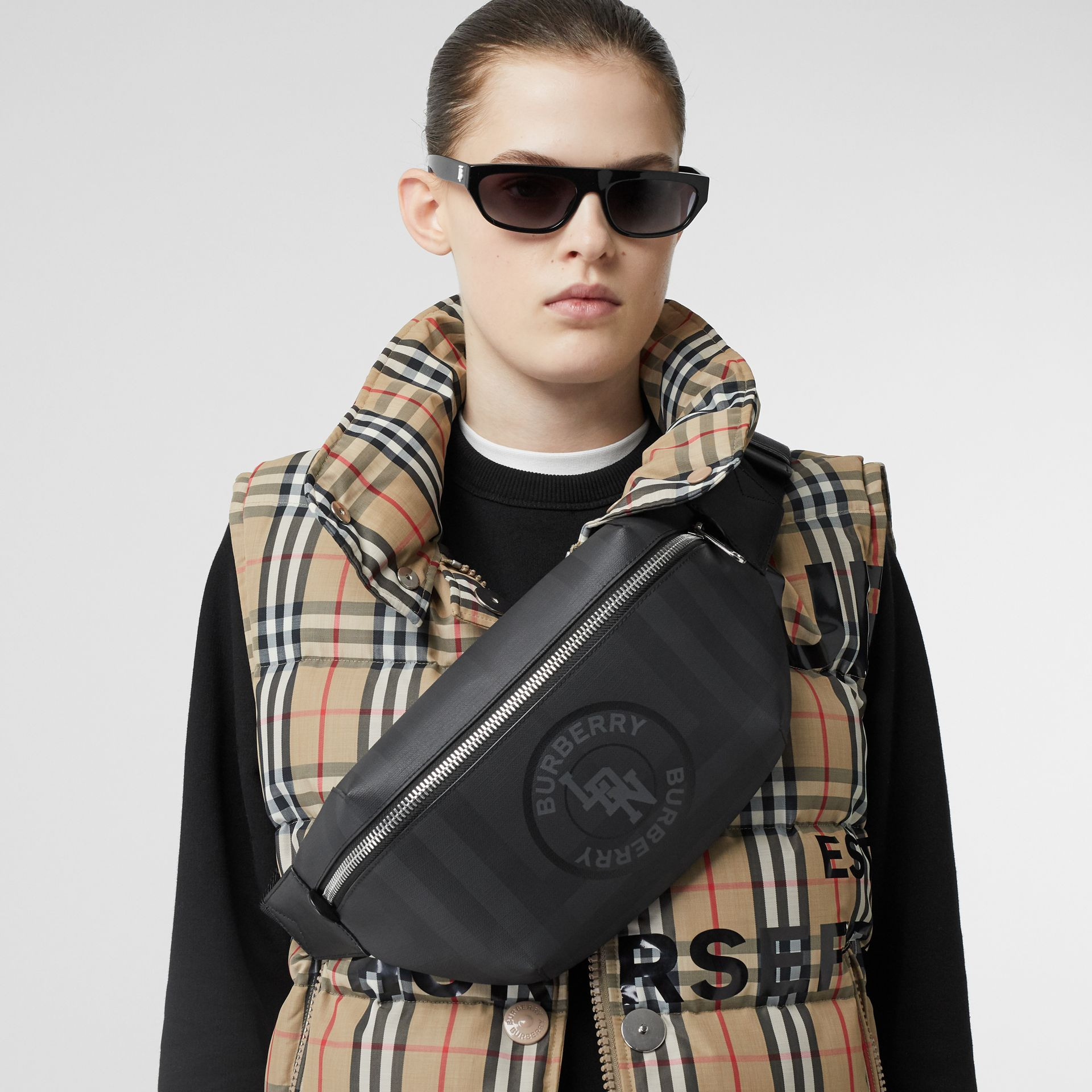 Logo Graphic London Check Sonny Bum Bag in Dark Charcoal - Men | Burberry United Kingdom - gallery image 2