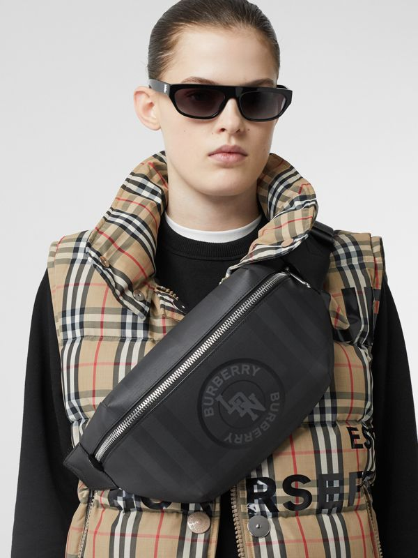 Logo Graphic London Check Sonny Bum Bag in Dark Charcoal - Men | Burberry United Kingdom - cell image 2