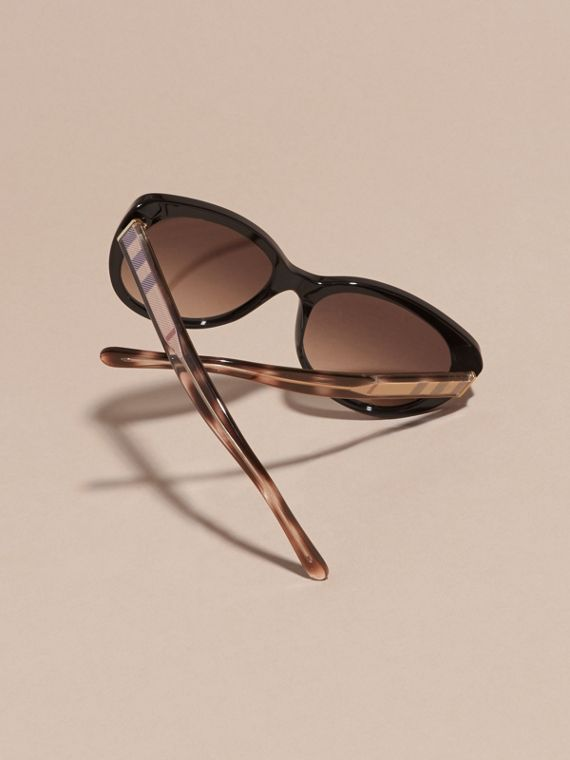 Check Detail Cat-eye Sunglasses in Black - Women | Burberry Hong Kong - cell image 3