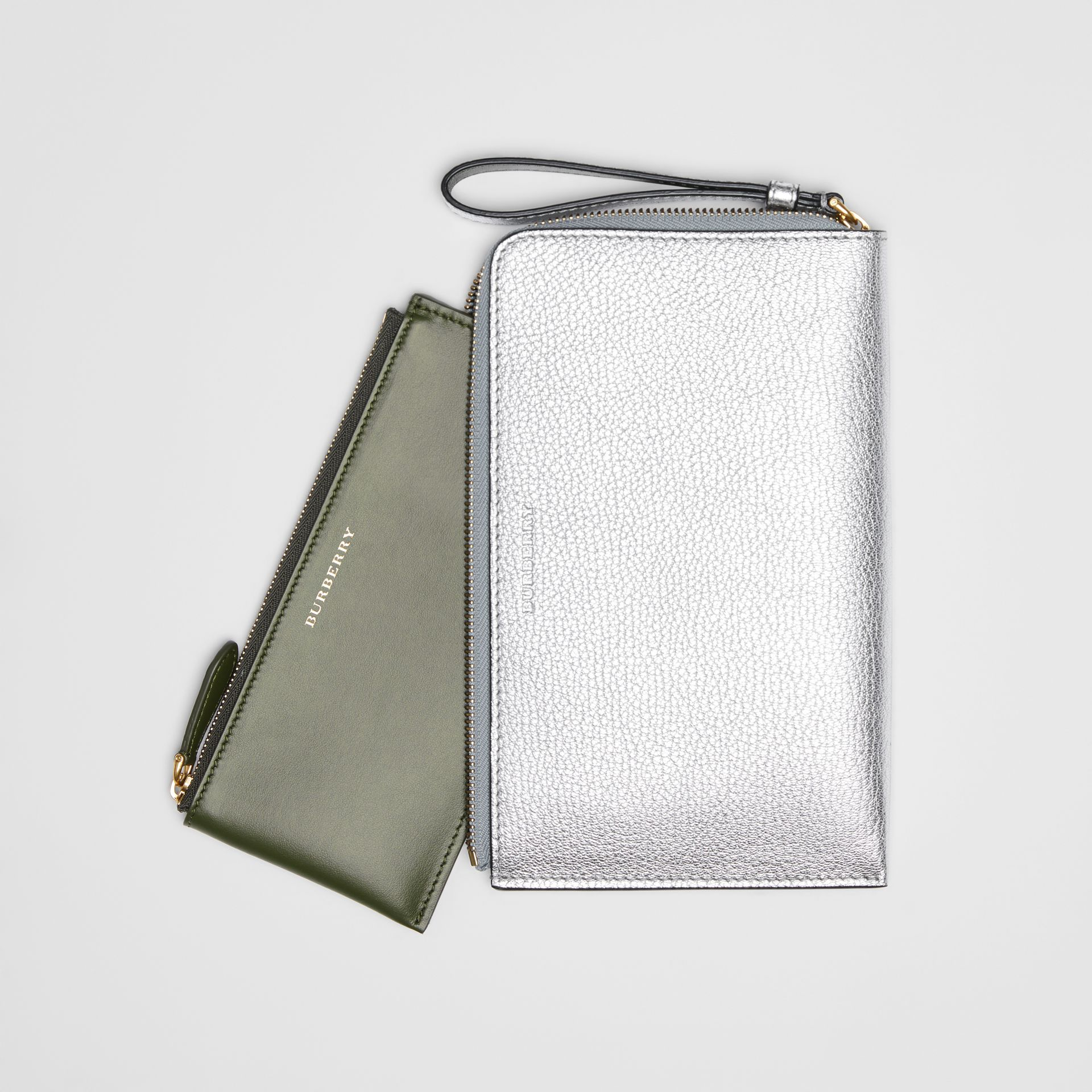 Two-tone Metallic Leather Travel Wallet in Silver - Women | Burberry - gallery image 6