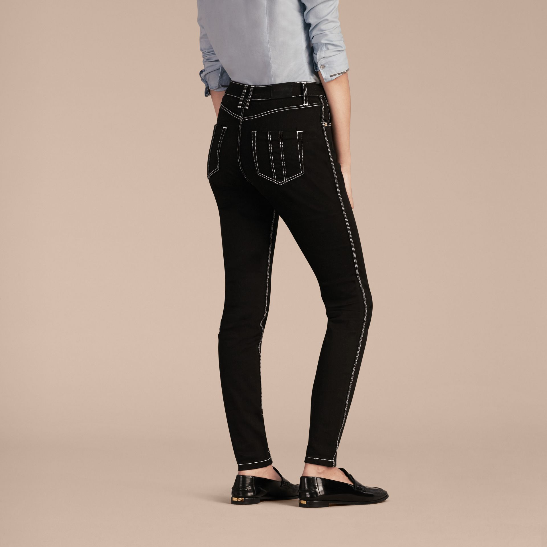 Black Skinny Fit Stretch Jeans with Contrast Topstitching - gallery image 3