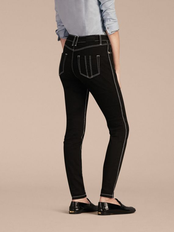 Black Skinny Fit Stretch Jeans with Contrast Topstitching - cell image 2