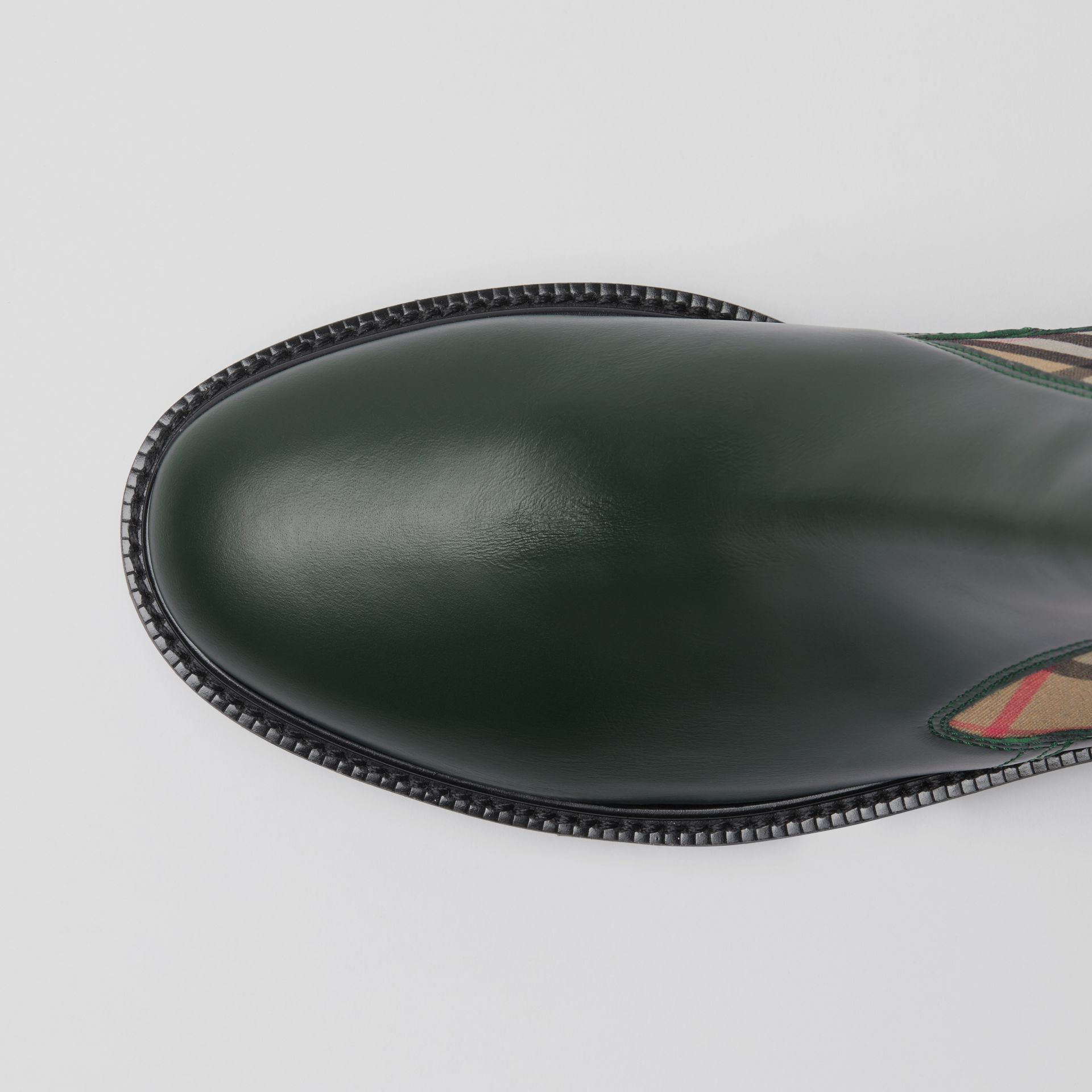 Vintage Check Detail Leather Chelsea Boots in Bottle Green - Women | Burberry - gallery image 1