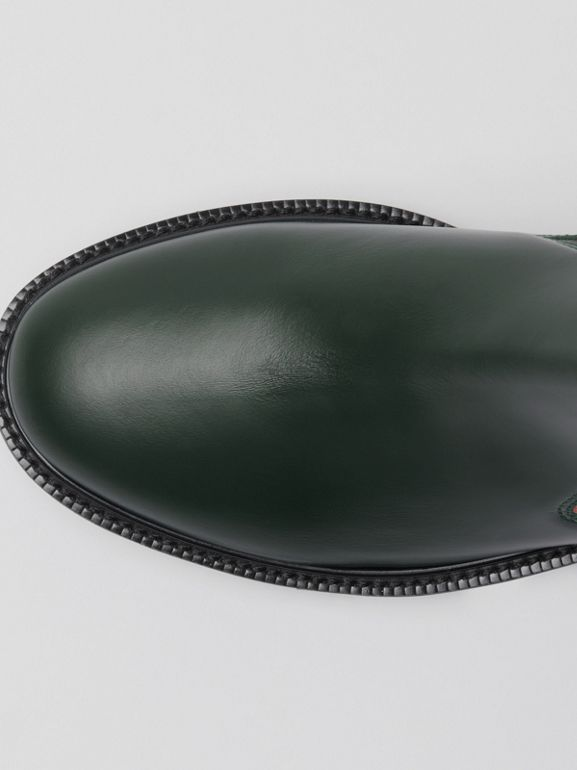 Vintage Check Detail Leather Chelsea Boots in Bottle Green - Women | Burberry Canada - cell image 1