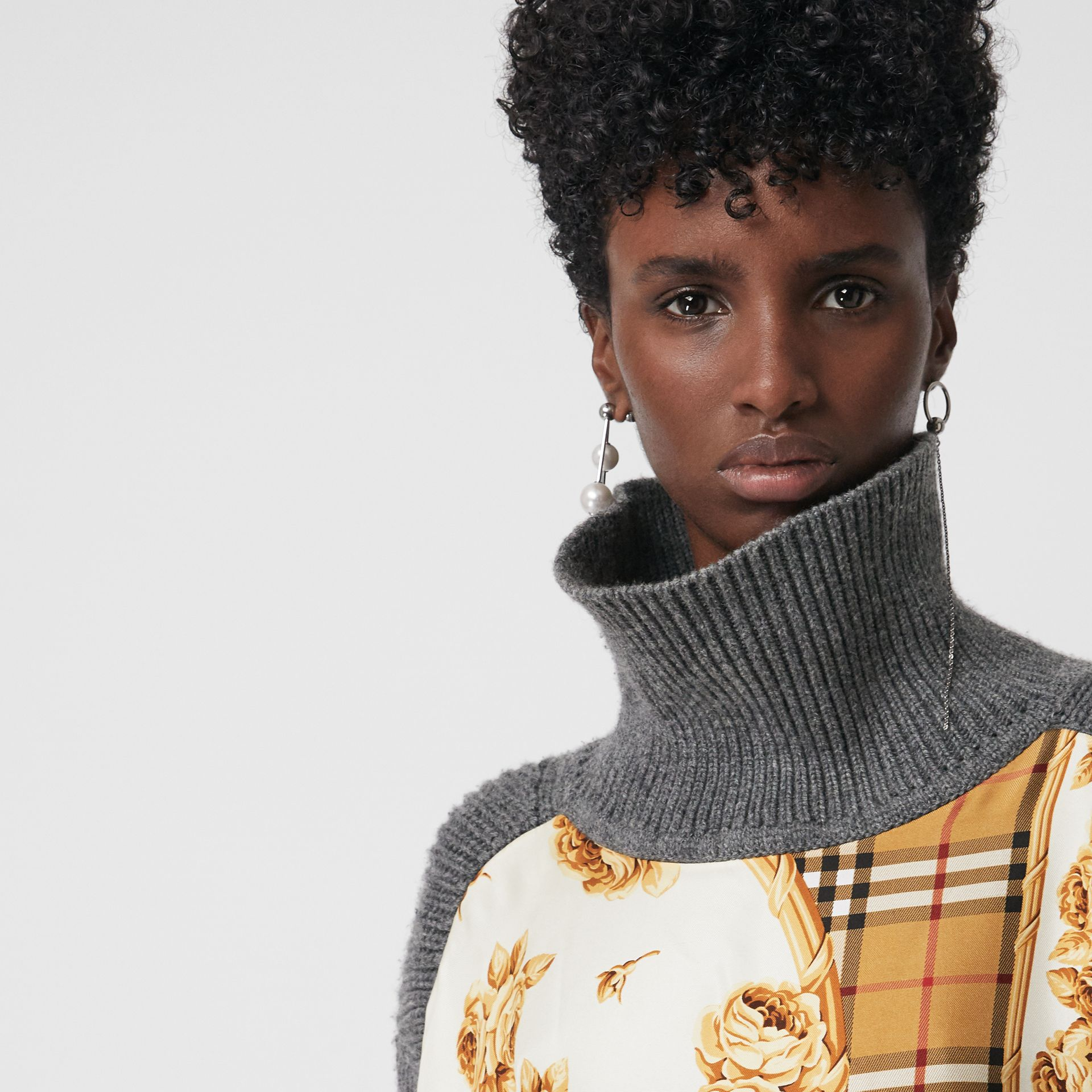 Archive Scarf Print Panel Wool Turtleneck Sweater in Grey Melange - Women | Burberry United Kingdom - gallery image 1