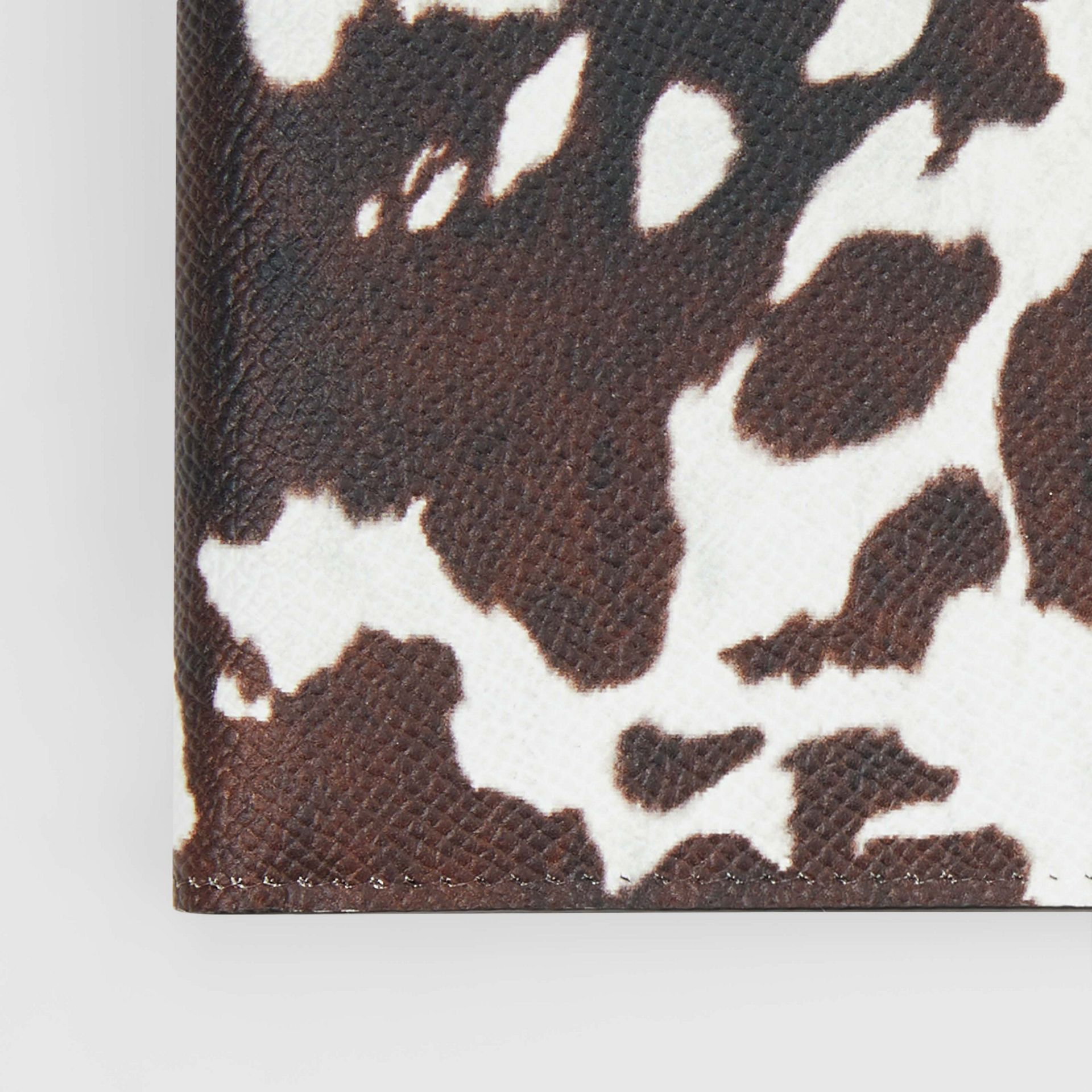 Cow Print Leather International Bifold Wallet in Black/white - Men | Burberry Australia - gallery image 1
