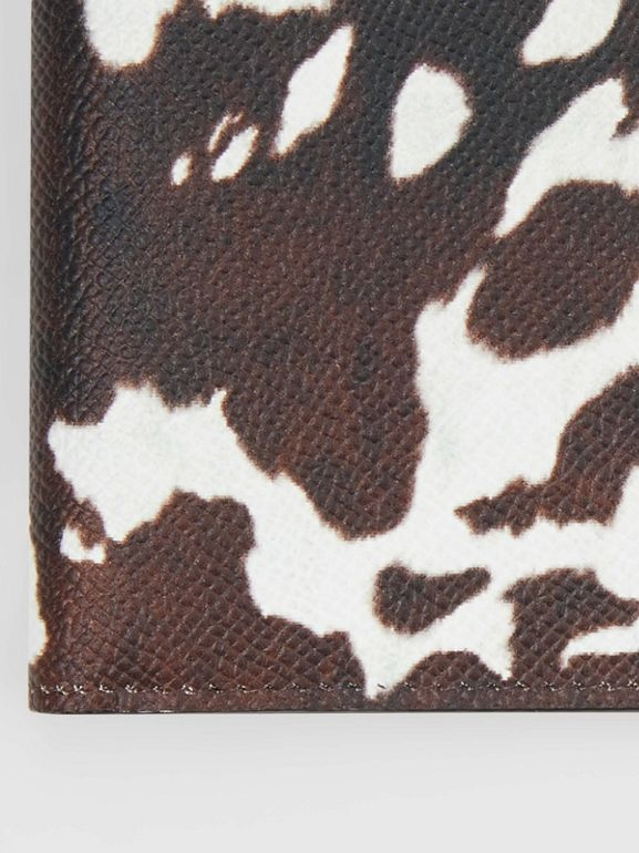 Cow Print Leather International Bifold Wallet in Black/white - Men | Burberry Australia - cell image 1