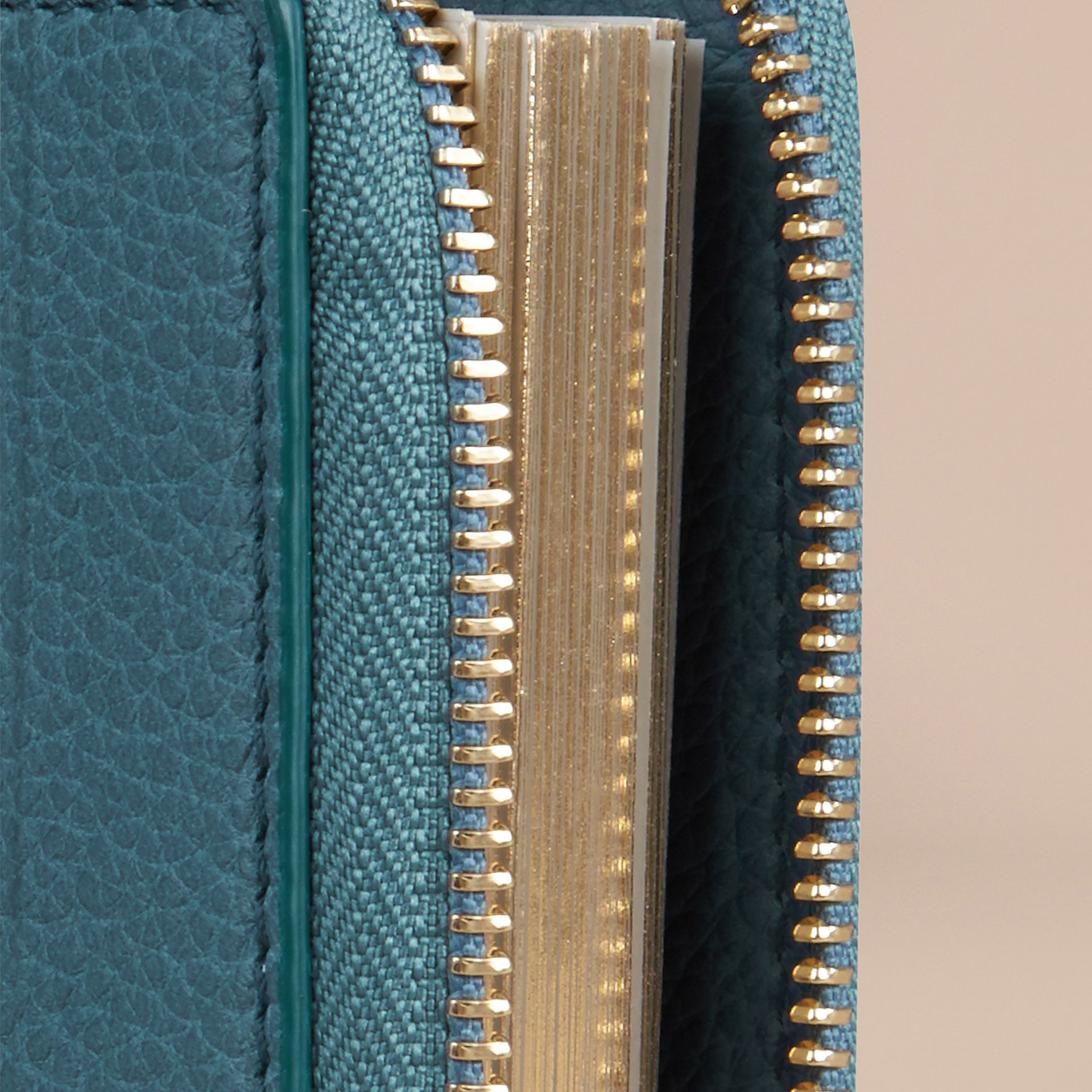 Ziparound Grainy Leather Mini Notebook in Dusty Teal | Burberry - gallery image 2