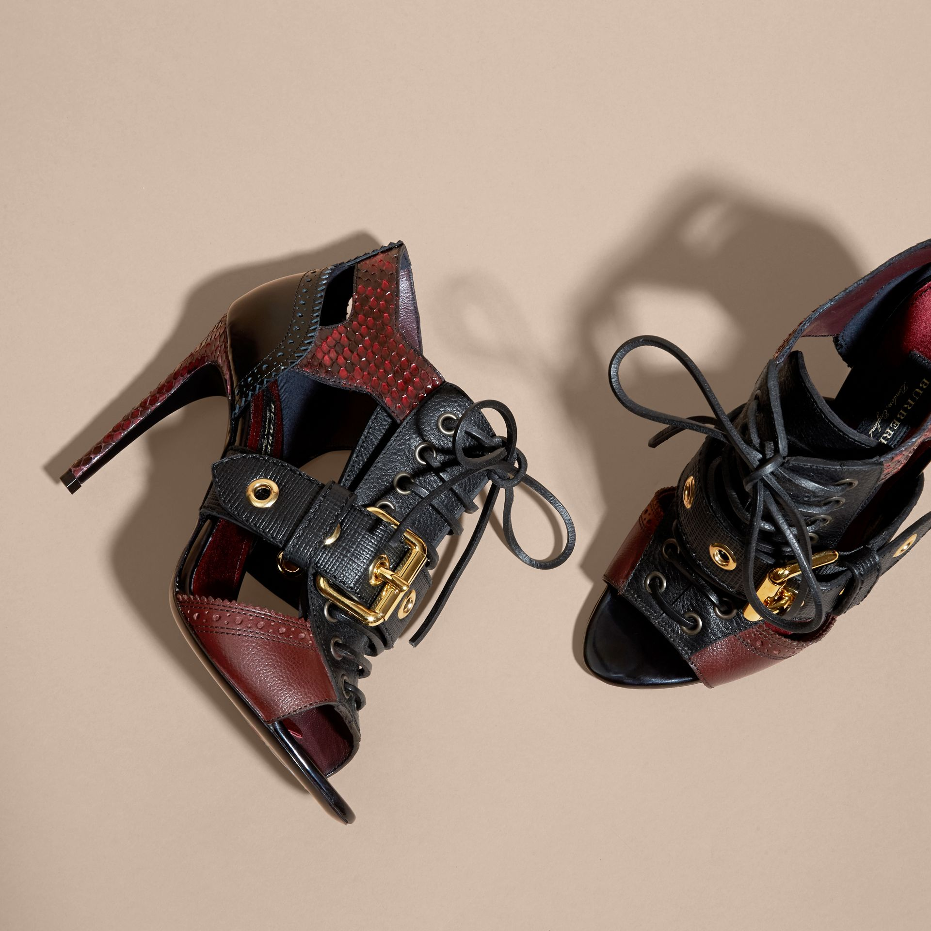 Bordeaux Buckle Detail Leather and Snakeskin Cut-out Ankle Boots Bordeaux - gallery image 3