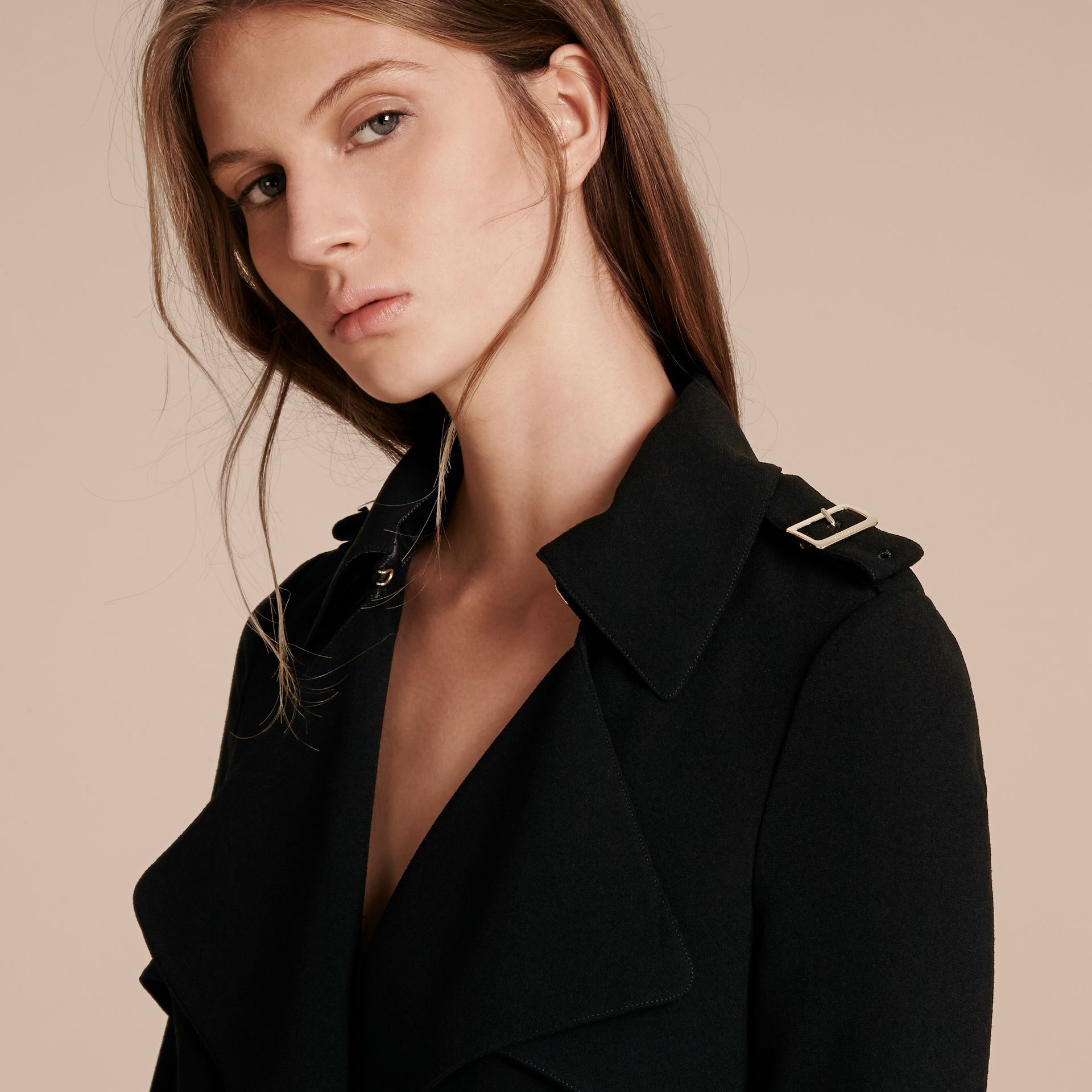 Buckle Detail Satin-back Crepe Trench Dress Black - gallery image 4