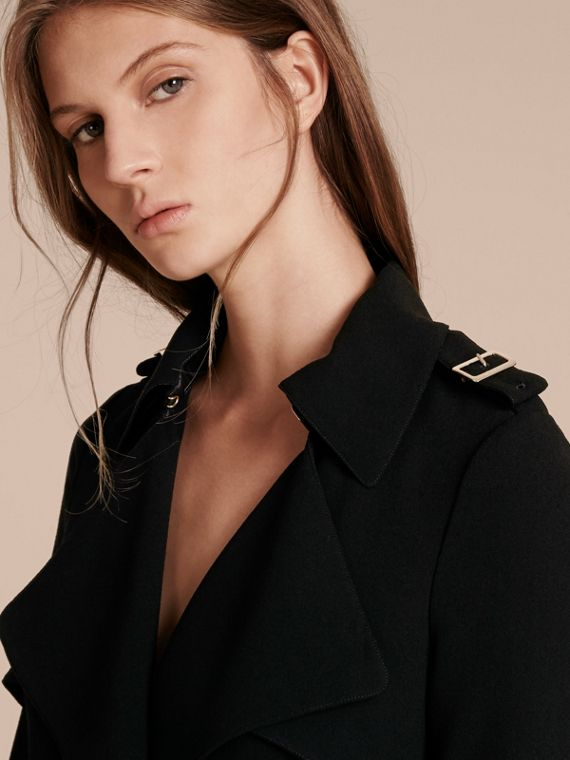 Buckle Detail Satin-back Crepe Trench Dress Black - cell image 3