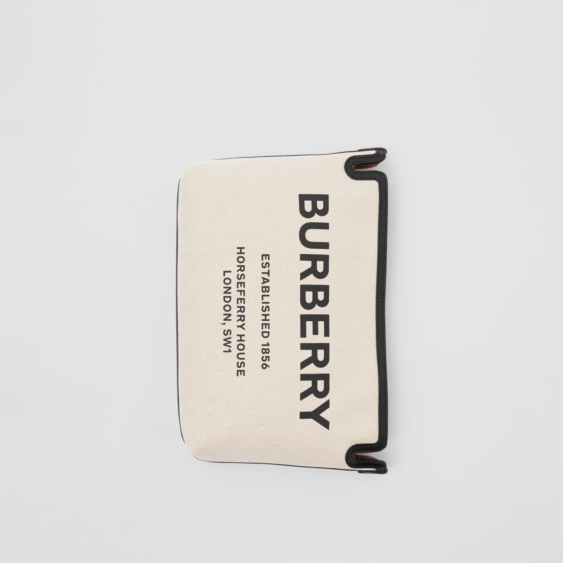 Medium Horseferry Print Canvas Clutch in Malt Brown/black - Women | Burberry - gallery image 3