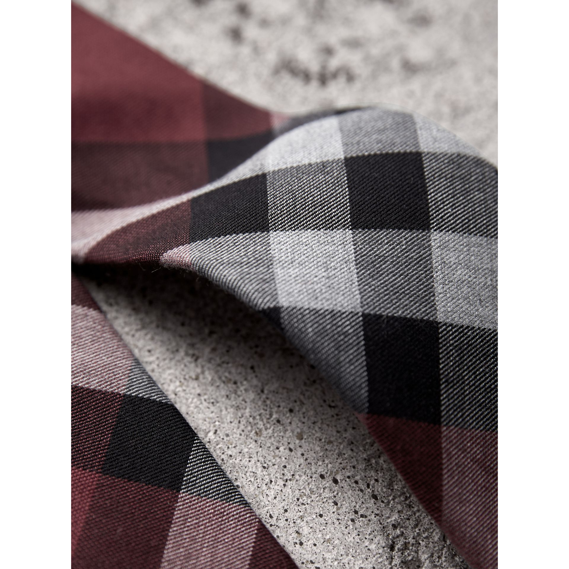 Modern Cut Check Cotton Cashmere Tie in Crimson Red - Men | Burberry - gallery image 1