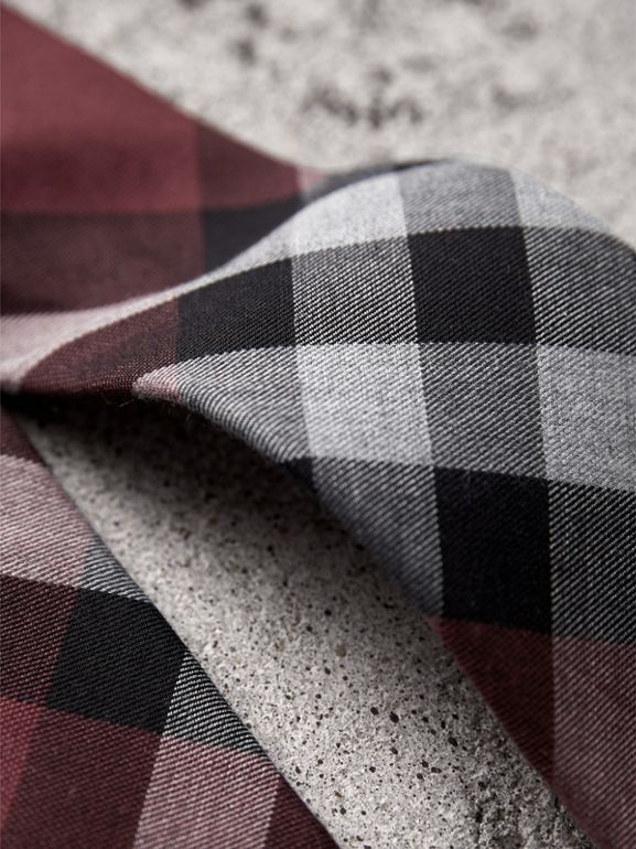 Modern Cut Check Cotton Cashmere Tie in Crimson Red - Men | Burberry - cell image 1