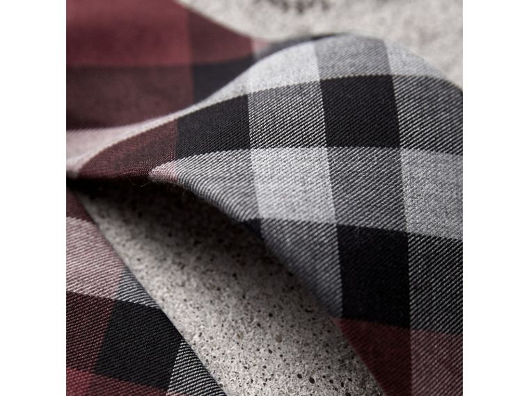 Modern Cut Check Cotton Cashmere Tie in Crimson Red - Men | Burberry Hong Kong - cell image 1