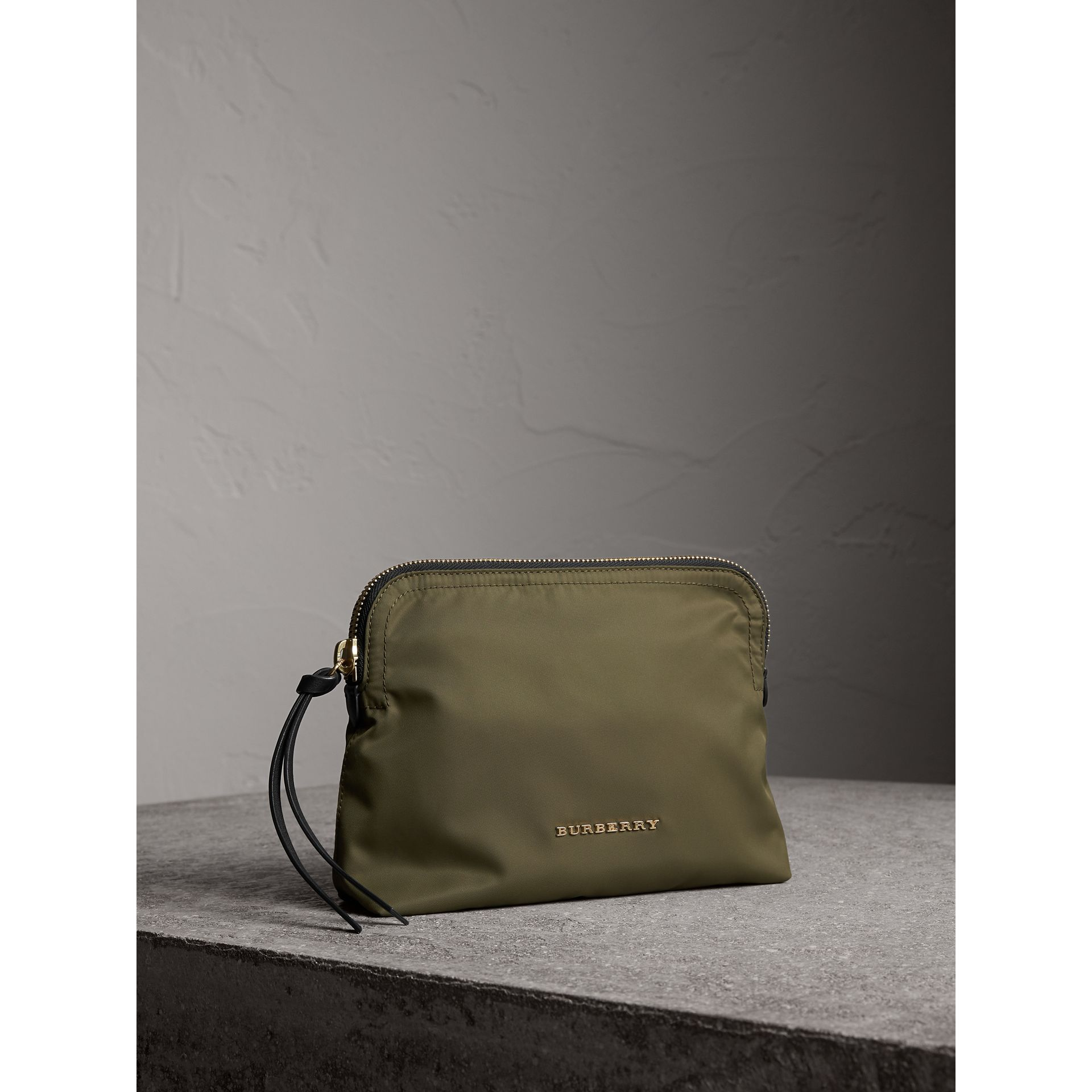 Large Zip-top Technical Nylon Pouch in Canvas Green - Women | Burberry United Kingdom - gallery image 6