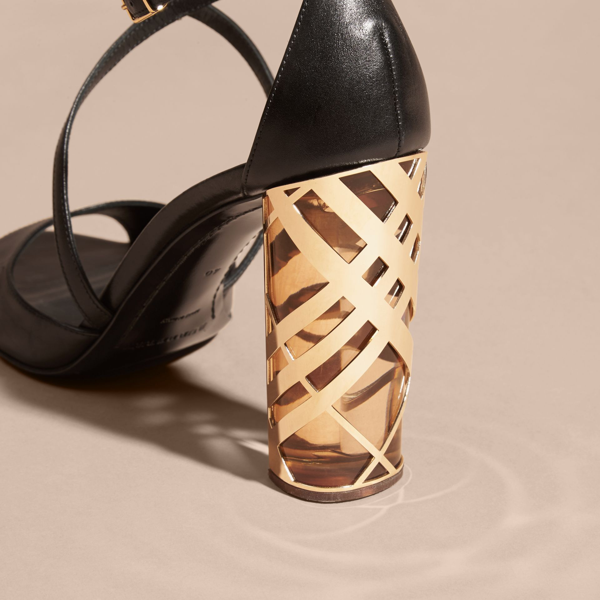 Black Check Heel Leather Sandals - gallery image 5
