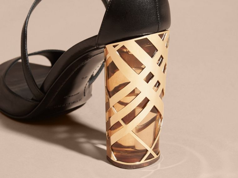 Black Check Heel Leather Sandals - cell image 4