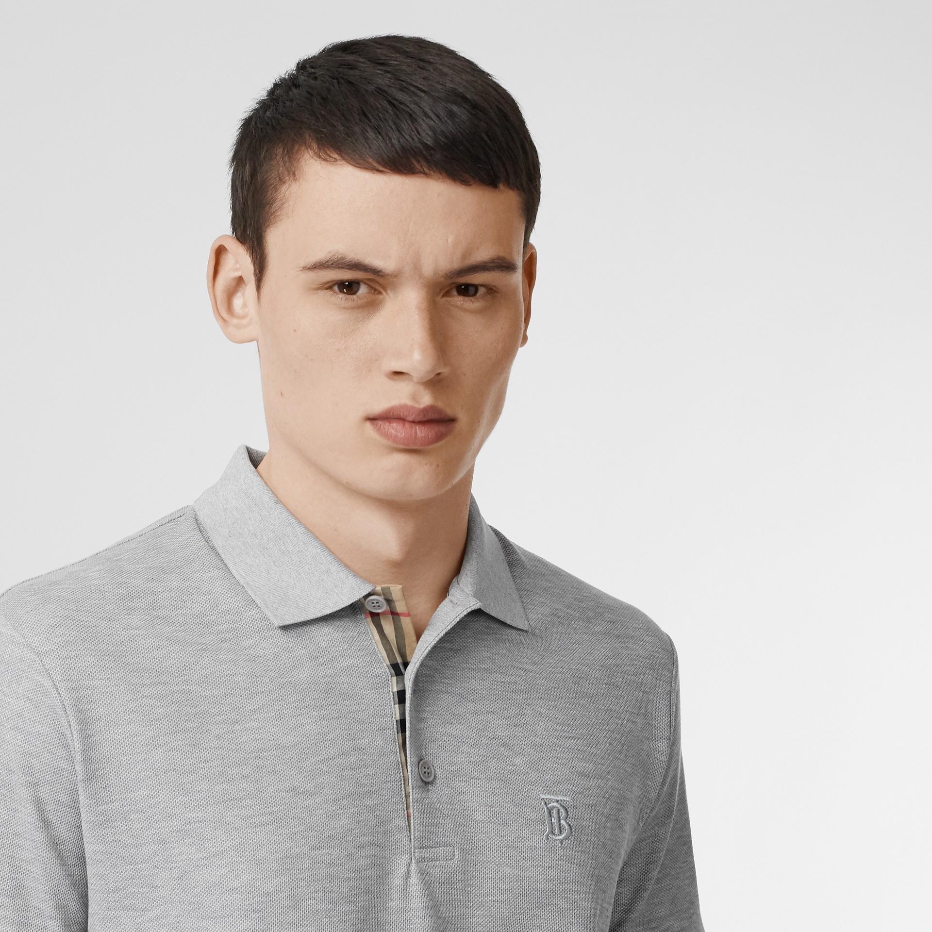 Monogram Motif Cotton Piqué Polo Shirt in White - Men | Burberry - gallery image 1
