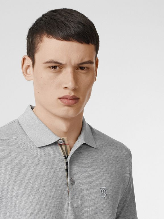 Monogram Motif Cotton Piqué Polo Shirt in White - Men | Burberry - cell image 1