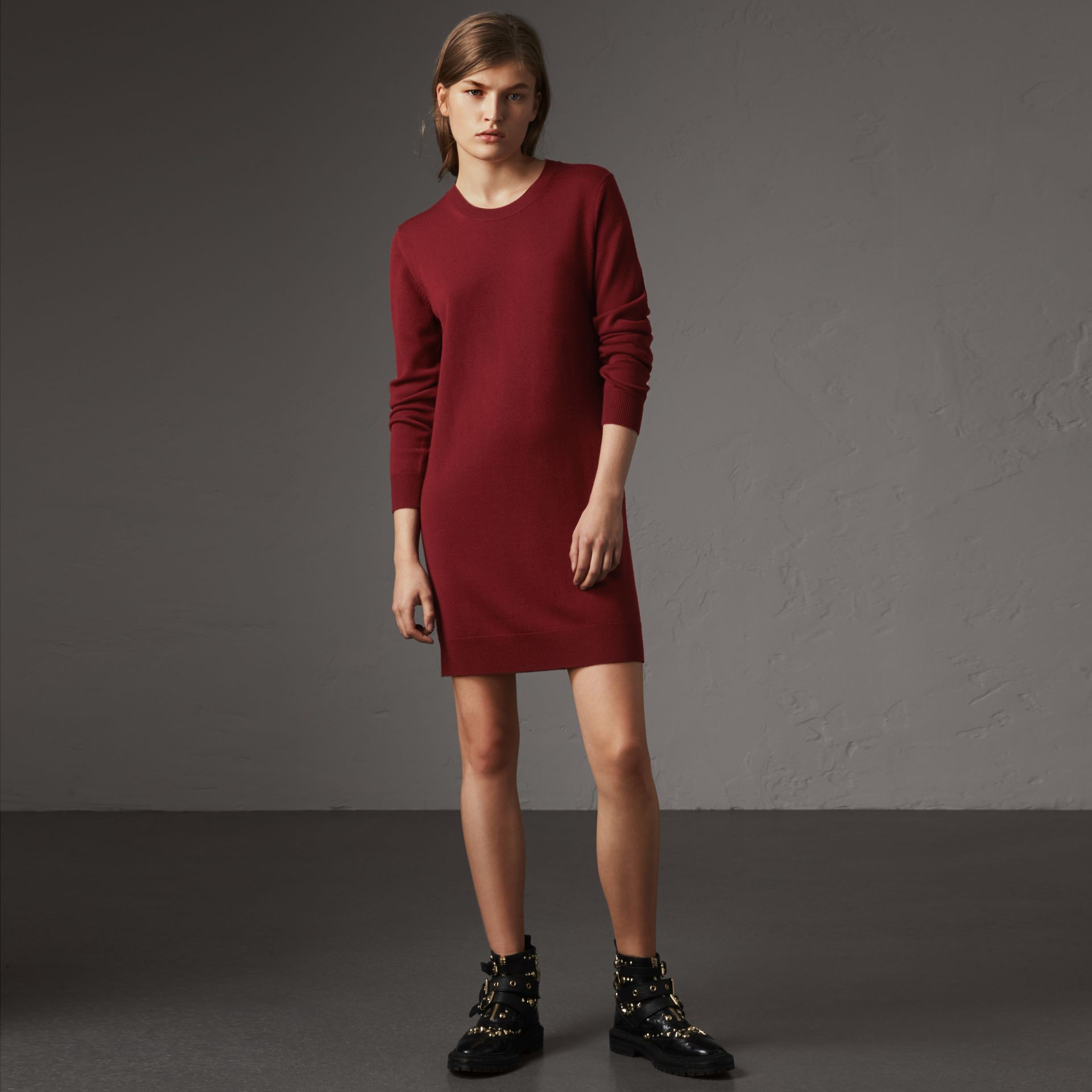 Check Elbow Detail Merino Wool Sweater Dress in Burgundy - Women | Burberry Canada - gallery image 0