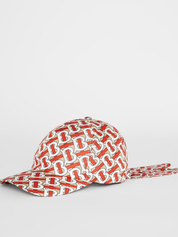 Monogram Print Baseball Cap in Vermillion - Women | Burberry - cell image 3