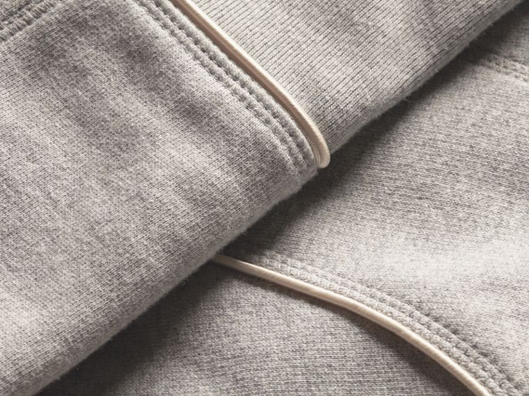 Pale grey melange Cotton Blend Sweatshirt Jacket - cell image 1