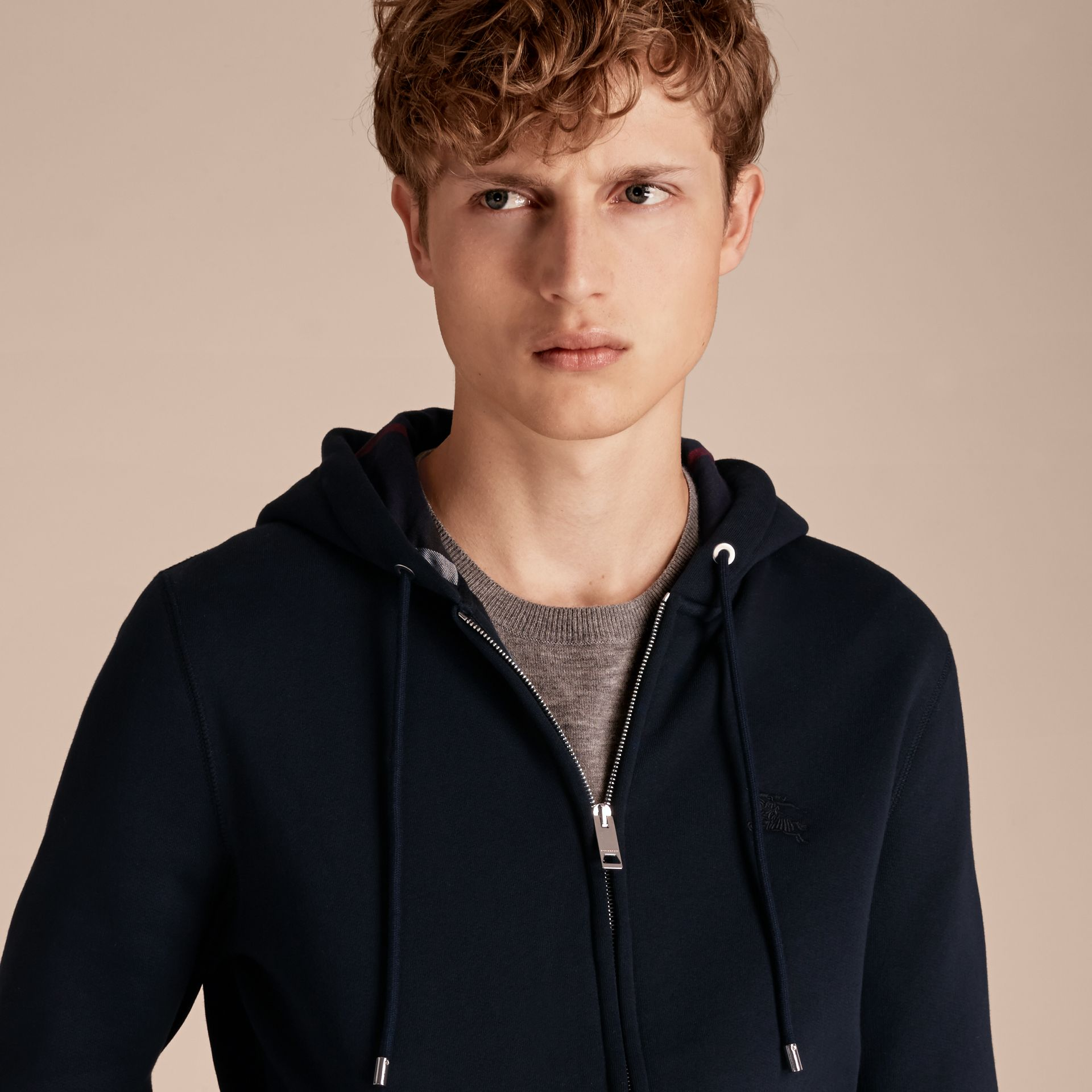Hooded Cotton Jersey Top Navy - gallery image 5
