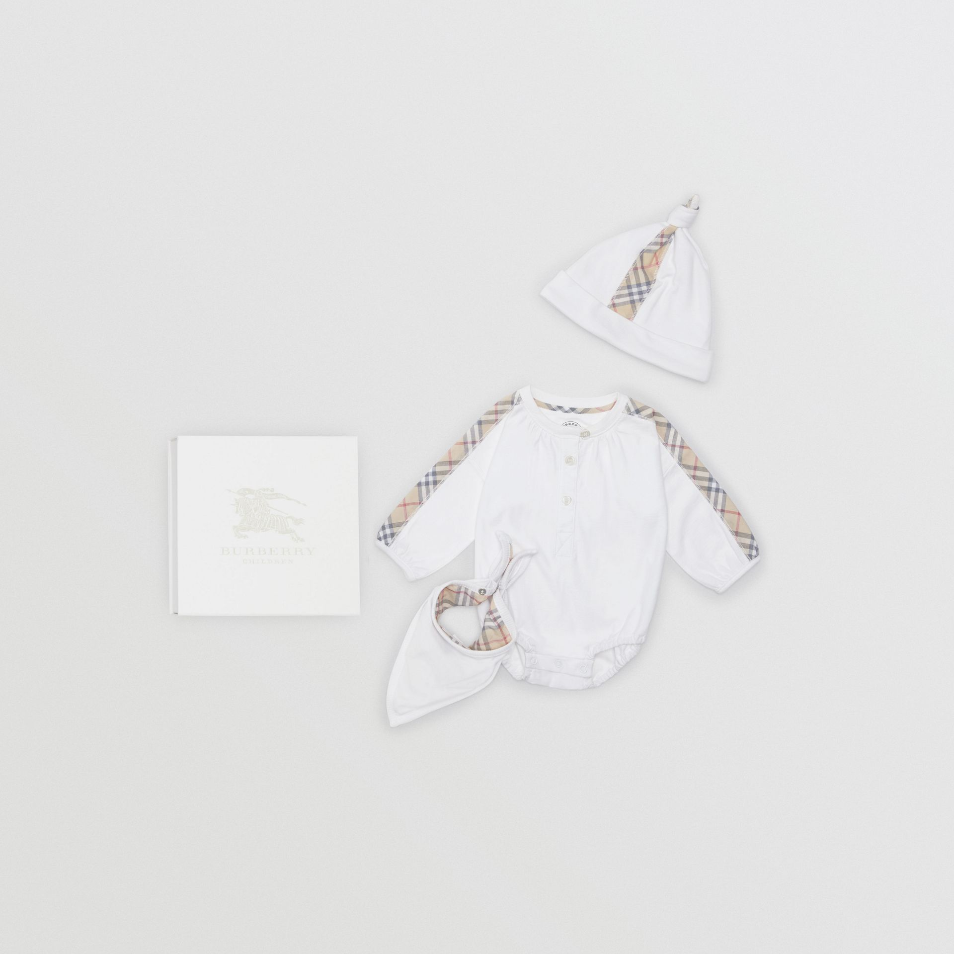 Check Cotton Three-piece Baby Gift Set in White - Children | Burberry United Kingdom - gallery image 0
