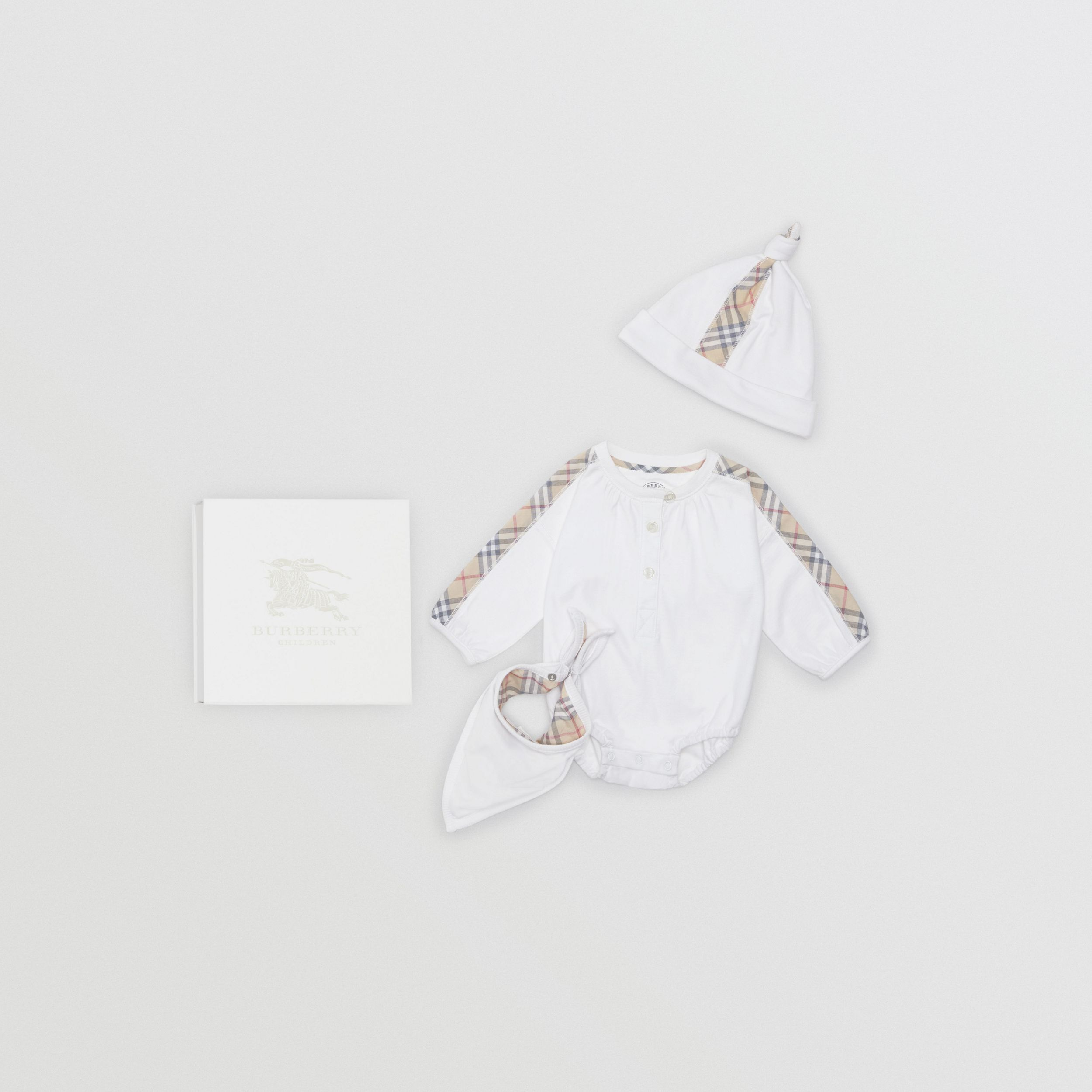 Check Cotton Three-piece Baby Gift Set in White - Children | Burberry - 1