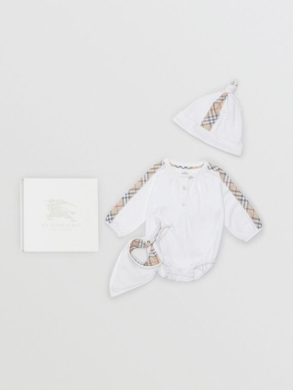 Check Cotton Three-piece Baby Gift Set in White