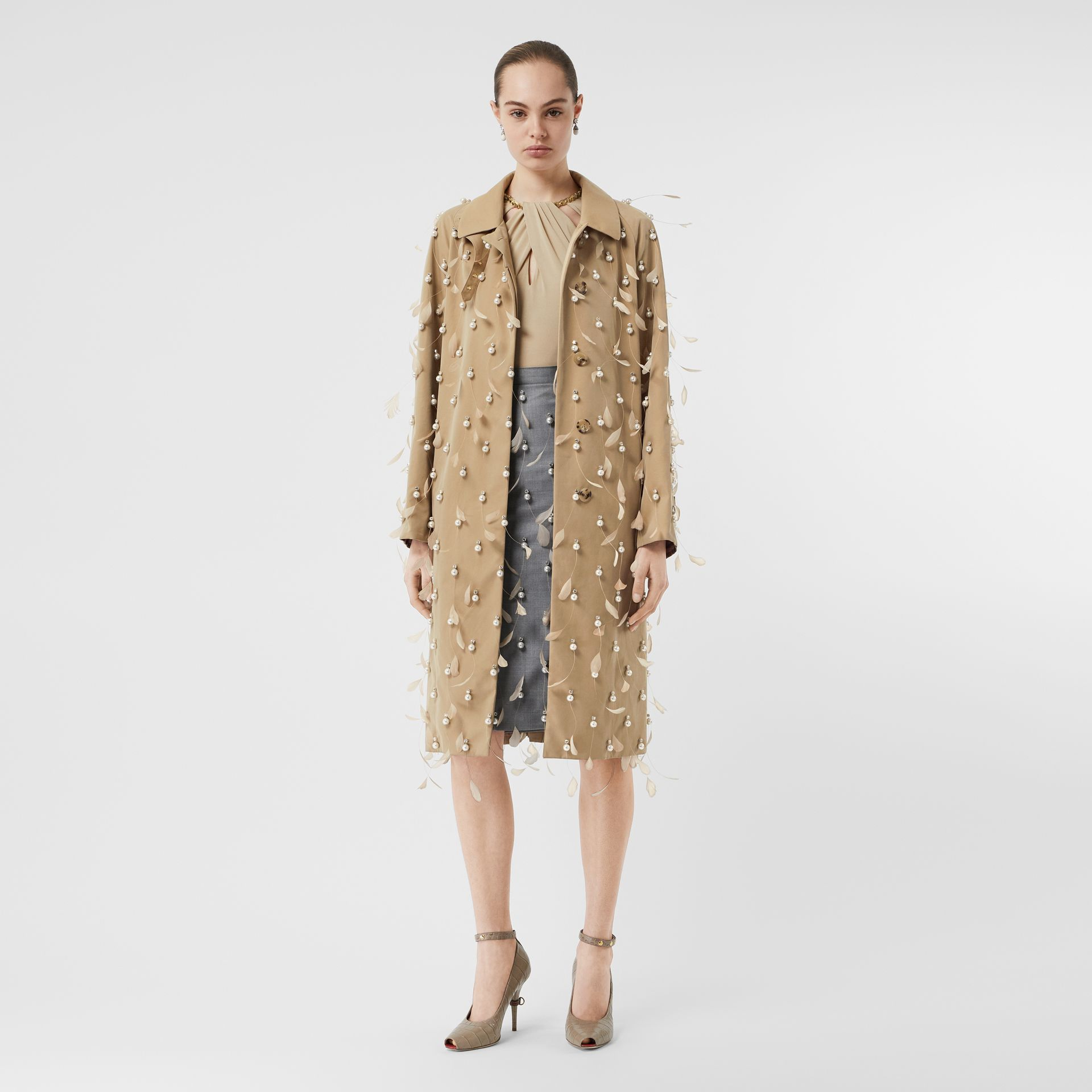 Embellished Cotton Gabardine Car Coat in Pale Honey - Women | Burberry United Kingdom - gallery image 0