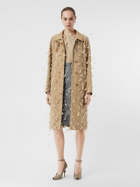 Embellished Cotton Gabardine Car Coat in Pale Honey
